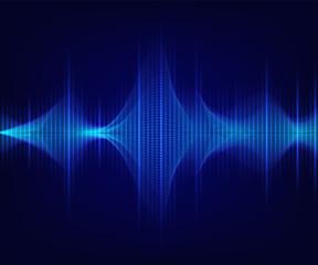 Blue shiny sound wave on dark background. Vector tecnology illustration.