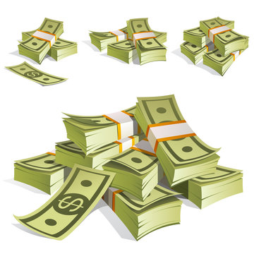 Set of money. Packing in bundles of bank notes. Isolated on white background.