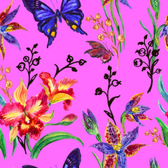 Seamless pattern from orchids and butterflies on a pink background, hand drawing.