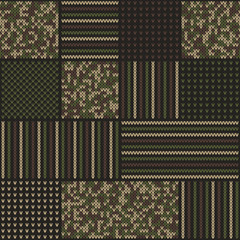 Abstract Knitted Pattern in Camouflage Style. Seamless Vector Background. Knitting Wool Sweater Design