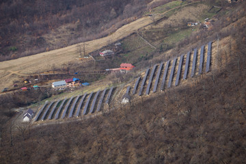 Solar power installation in a rural setting outside of Baile Herculane, Romania