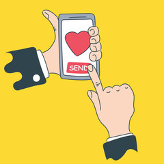 Hand holds the phone with the intention of sending a heart. Set of vector illustrations. Modern concept for web banners, web sites, infographics.