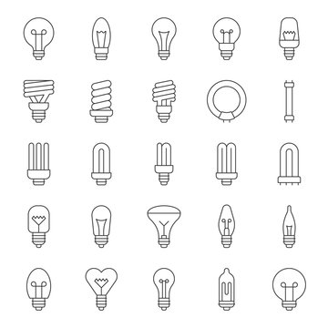 Set of simple type of Light bulb and fluorescent, thin line icon