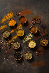 A Variety of MIddle Eastern Spices Are Displayed With a Red Color Gradient