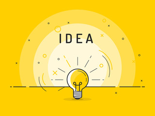 Light bulb with rays shine. Idea symbol.Trendy flat vector on yellow background. Vector Illustration.