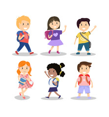 Set of cute smiling school children with backpacks, vector illustration
