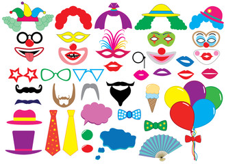 Photo booth props. Clowns. Holiday set. Vector