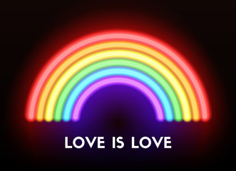 Love is love. Neon rainbow