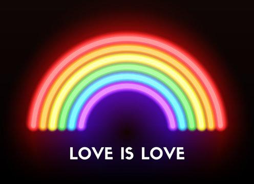 Love is love. Neon rainbow