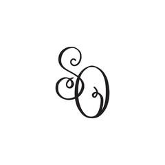 Handwritten monogram SO icon