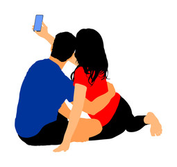 Happy couple in love take selfie vector illustration isolated on white background. Boyfriend and girlfriend travel fun with phone. Romantic outdoor photography.