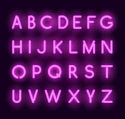 Vector neon alphabet. Realistic glowing letters