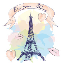 Bonjour Paris hand drawn vector lettering and Eiffer Tower. Modern calligraphy brush lettering. Bonjour Paris ink lettering. Design element for cards, banners, flyers.