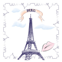 Paris hand drawn vector lettering and Eiffer Tower. Modern calligraphy brush lettering. Paris ink lettering. Design element for cards, banners, flyers.