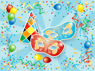 Party background with carnival masks, hat, balloons, streamers and confetti