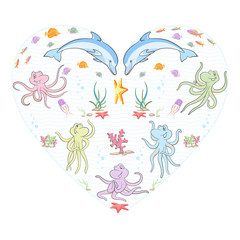 Under the sea. Marine animals and fish swirl in the dance of love.