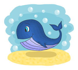 Cute smiling cartoon whale swimming in the sea, vector illustration hand drawing