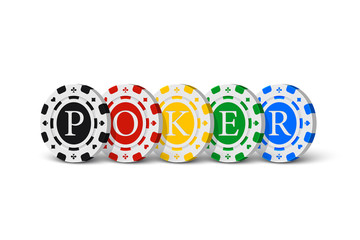 POKER word made of casino chips. Vector gambling illustration.
