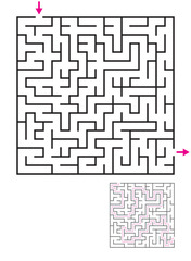 Labyrinth maze game with solution. Find path from entry to exit