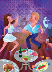 A man and a woman are dancing in a club at a disco. A party of young people with a drink
