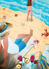 Young couple on the beach by the sea. Rest of the family in a warm country. Illustration of love and romance