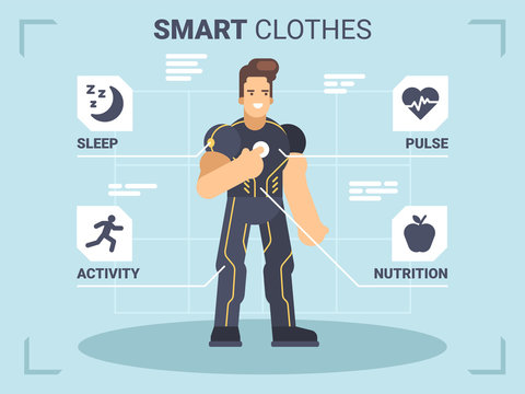 Wearable technology with a man fitness gadgets tracker and smart sensors