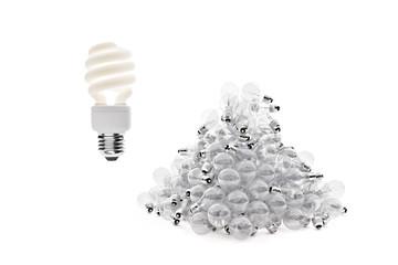 Wide shot of fluorescent bulb above tungsten