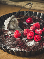 clafoutis pie - chocolate pastry with berries (Easter baking)