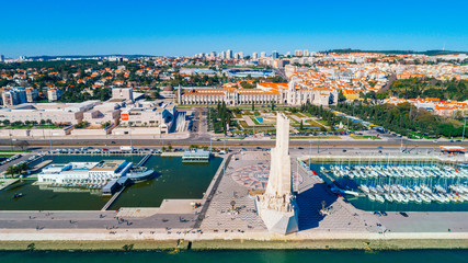 Famous Monument of Discoveries on the bank of Tagus river in Lisbon,Portugal.Visit site and viewpoint in Belem district.Within walking distance to the Torre de Belem tower.Famous destination