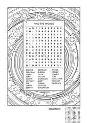 Puzzle and coloring activity page for grown-ups with z-words word search puzzle (English) and wide decorative frame to color. Family friendly. Answer included.