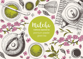 Matcha tea. Japanese traditions of tea ceremony. Vector illustration frame for Tea Shop. Vintage elements for design. Hand drawn sketch Illustration