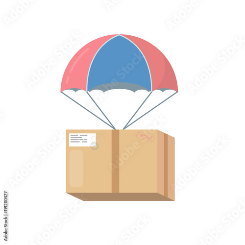 Package cardboard box with attached parachute and ropes