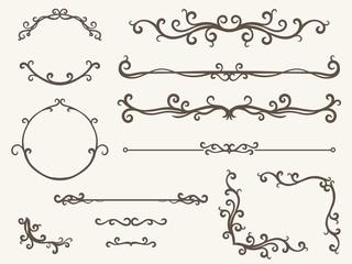 Vector illustration of decorative corner frame set - line, corner and circle frame