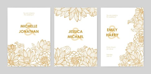 Bundle of wedding invitation card templates decorated with beautiful blooming lotus flowers, buds and leaves hand drawn with golden contour lines on white background. Natural vector illustration. Fototapete