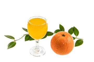 Isolated orange and orange juice on white ground