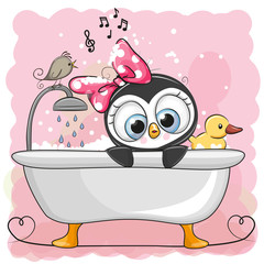 Cute cartoon Penguin girl in the bathroom