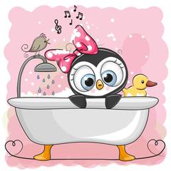 Cute cartoon Penguin girl in the bathroom