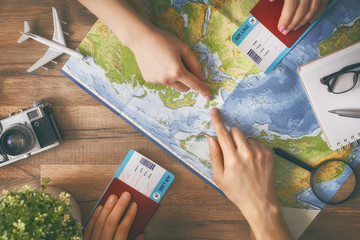 Man and woman are planning trip