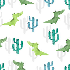 Seamless watercolor crocodile pattern. Vector background with alligators and cactuses for kids design.