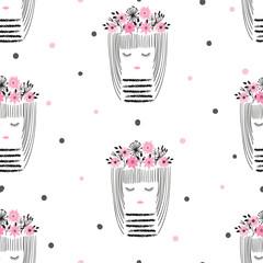 Seamless cute girls pattern. Vector illustration for kids.