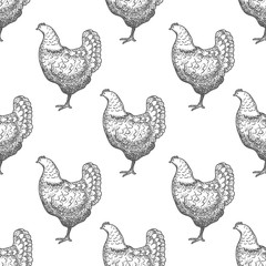 Chicken vintage engraved illustration seamless pattern background. Vector