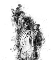 Black and white sketch of the Statue of Liberty