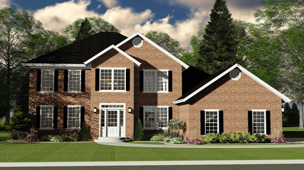 3D Illustration of Two Story Brick Home