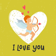 Valentines Day greeting card with funny cupid with bow and arrow. I love you inscription and Angel or Amour on bright yellow-green background.