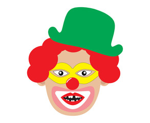 Clown with toothless mouth and red hair. Vector