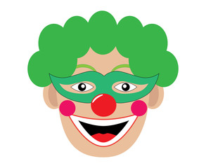 clown smiling on a white background. Vector