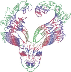 Illustration of a deer with peacock feathers in horns. Gradient color vector of decorated deer