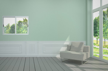 Minimalist interior with white chair on blue light wall. 3D Rendering
