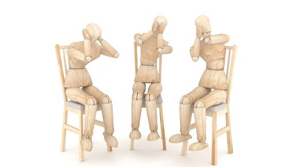 Three wooden puppets. 3D rendering