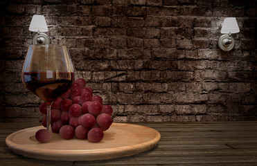 Grape and wine. 3D rendering